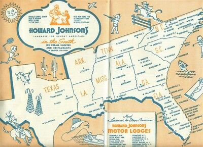 Howard Johnson's In The South Placemat 1950's Ice Cream Shoppes & Restaurants