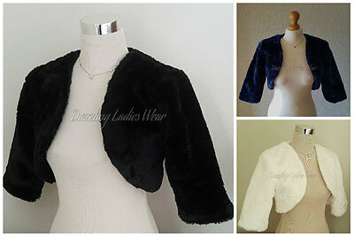Faux Fur Bolero Jacket/Shrug/Stole/Shawl/Wrap Satin Lining 3/4 Sleeves Wedding
