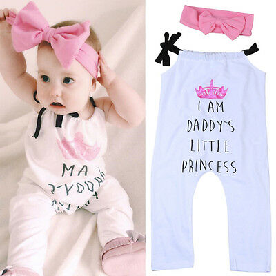 Daddy's Newborn Baby Girl Romper Bodysuit Jumpsuit+Headband Outfits 2PCS Clothes