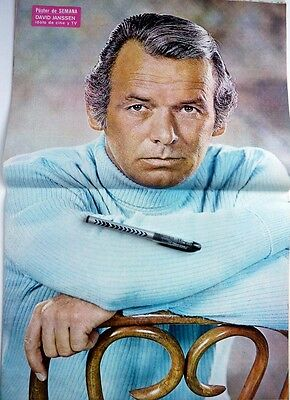 *DAVID JANSSEN =>  2  pages 1972 Spanish POSTER CLIPPING !!! (20 x 13 inches)