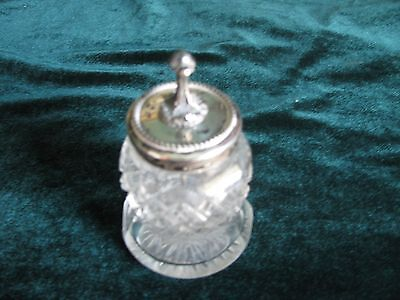 Antique Victorian Cut Glass Crystal & Sterling Silver Glue/mucilage Bottle