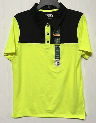 MTA Sport Button Up Polo Tshirt Yellow And Black Boys Size Large 12/14 New