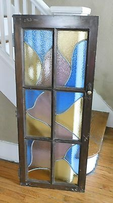 Vintage Stained Glass Window BookCase Or Cabinet Door 6 panel Heavy