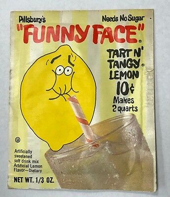 "Original 1960's Pack Of Pillsbury's ""funny Face"" Tart N' Tangy Lemon Mix New"