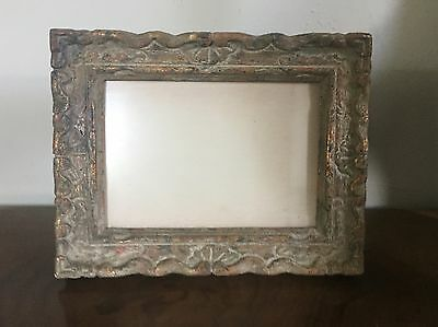 Small Vintage Paint Decorated Gray & Gilt Carved Wood Picture Frame French Style