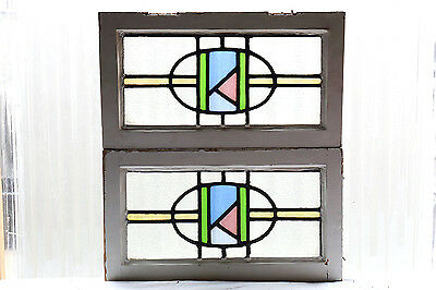 Pair of Antique Stained Glass Windows Four Color Art Deco Transoms (3038)
