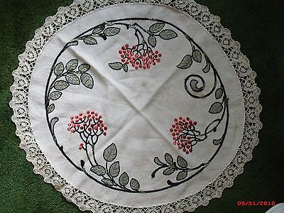 Vintage Arts and Crafts Stickley Era Round Embroidered Table Linen