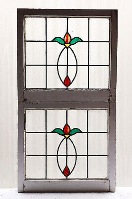Large Pair of Antique Stained Glass Windows Four Color Art Nouveau Tulips (3040)
