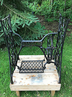 1901 Singer Treadle Sewing Machine Cast Iron Base, Table Legs, Industrial Age