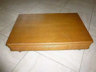 Vintage Large  Wooden  Oak Canteen  Of Cutlery Box Desk Top Storage Box 46X29X10