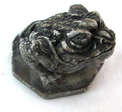 "Asian Style Toad Frog Hand Crafted Figurine Resin Ugly with Bridal 3"" diam"