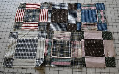 6 1890-1910 Modified 9 Patch quilt blocks, some Neons, Thread dyes