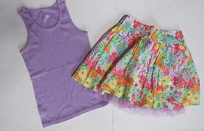 JUSTICE GIRLS 12 14 OUTFIT 2 PIECE Skirt & Tank Top Floral Sequin