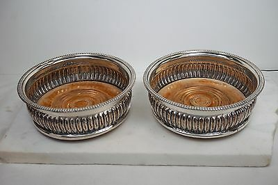Vintage Pair Of Sheffield Sterling Plated Wine Coasters 1940's