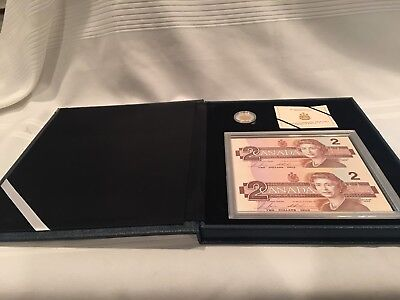 Canadian 1996 Proof $2 Piedfort and Bank Note Set