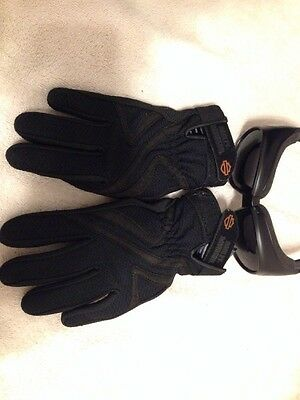 HARLEY DAVIDSON black mix leather / stretch RN #103819 GLOVES SML + Sunglasse