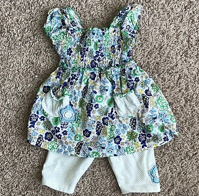 Sweet Potatoes 2T Outfit Set Girl Shirt Shorts Toddler White Floral Summer GUC
