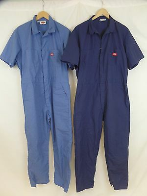 Lot of 2 Dickies Men's 38x29 + 38x30 Navy + Blue Short Sleeve Work Coverall