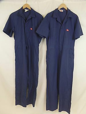Lot of 2 Dickies Men's 38x30 + 38x31 Navy Poly Cotton Short Sleeve Work Coverall