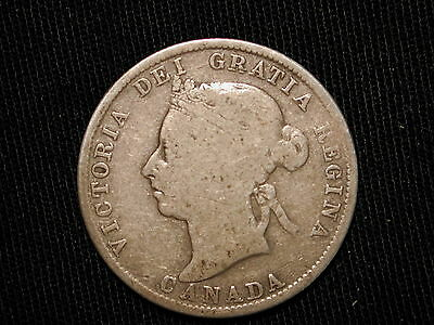 1886 Canada 25 Cent Coin Very Good  VG KM #5