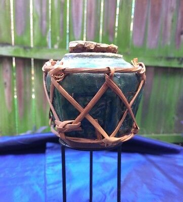 Antique Shiwan Ginger Jar Original Cork Lid And Bamboo Protective Covering