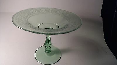 """Vintage Fostoria Etched Royal Green Compote Footed Fruit or nut Dish 6"""" tall"""