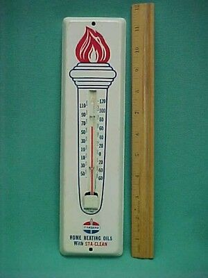 Vintage 1960 Standard Oil Torch Sta Clean Gas Filling Station Thermometer Works!