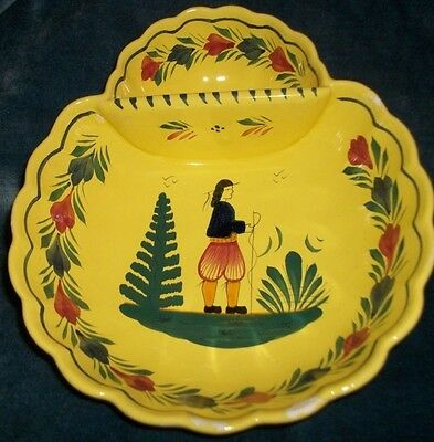Rare-Henriot Quimper Yellow Divided Bowl-Made in France