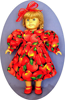 "Fits American Girl Doll Clothes DRESS RED 18"" doll clothes CHRISTMAS 5da"