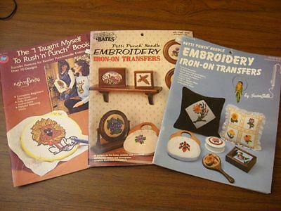 lot vintage punch needle embroidery iron on transfers rush'n petti flower owl