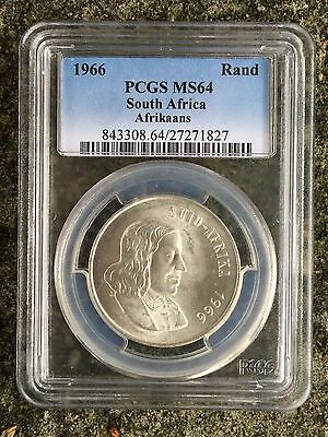 South Africa 1 Rand 1966, Afrikaans - Unc, MS 64 PCGS, Silver