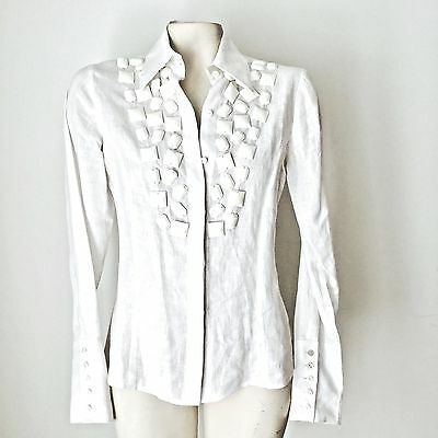 Women's White Linen Blouse Jeweled Front Long Sleeve by Ines Gavin's Sz 2