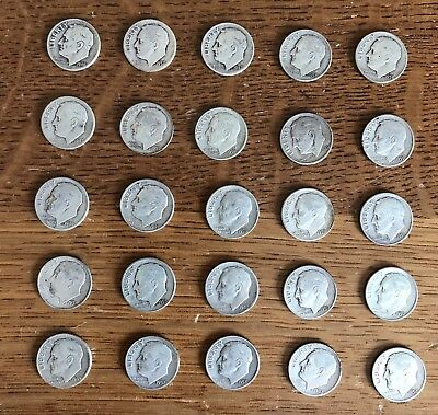 Lot of 25 Roosevelt dimes 90% silver coins various dates. #129
