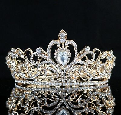 Loyal Clear Austrian Crystal Rhinestone Hair Crown Bridal Prom Wedding Gold T18g