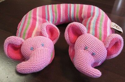 Maison Chic, Baby Girl Knit Travel Neck Support- Pink Elephant w/stripes - Clean