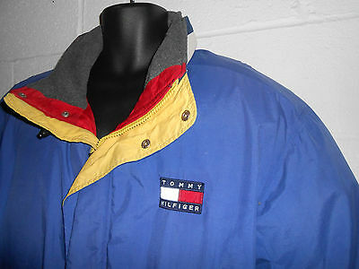 Vintage 90s Tommy Hilfiger Flag Blue Down Puffer Coat Jacket 2XL XXL