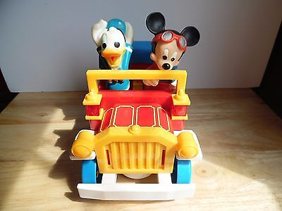 Vintage Illco Mickey Mouse & Donald Duck Battery Operated Car ~WORKING~ ~VGCC~