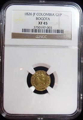 Colombia: Republic gold Peso 1826-JF, KM84, XF45 NGC, Bogota mint.