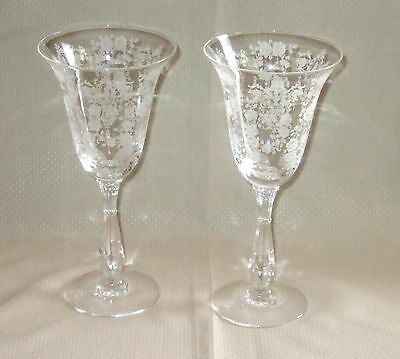 """Pair Cherokee Rose Water Goblets Tiffin 17399 8"""" as found"""