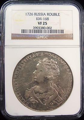 Russia: Catherine I Rouble 1726 VF25 NGC.