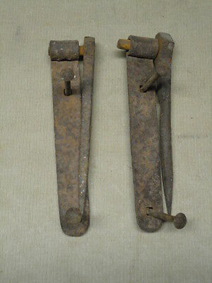 VINTAGE PAIR HAND FORGED STRAP HINGES w/ PINTLES BARN GARDEN GATE DECORATOR ITEM