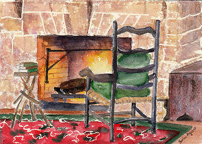 """Original Watercolor Painting 5""""x7"""" Home by Sonia Aguiar"""