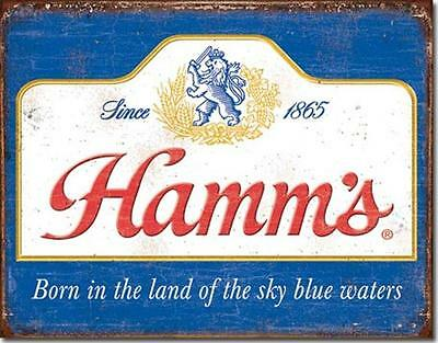 Hamm's Beer Born In The Land Sky Blue Waters Since 1865 Tin Metal Beer Bar Sign