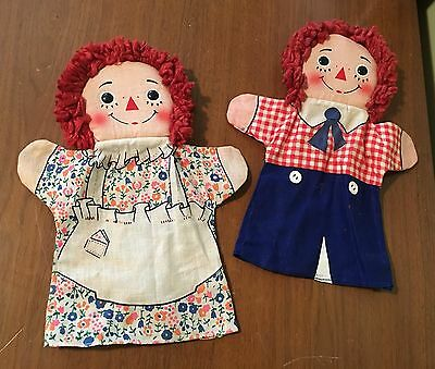 Pair of Vintage Knickerbocker Raggedy Ann & Andy Cloth Hand Puppets