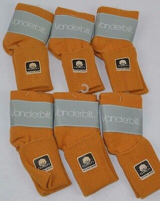 Vtg 80's Lot of 6 Pairs VANDERBILT SPRINGFOOT Mustard Yellow 9-11 Cuffed Socks
