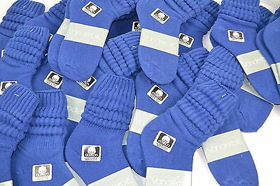 VINTAGE New Lot of 36 Pairs Cotton SLOUCH Baggy Socks Royal Blue - 1980's