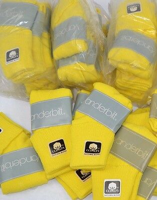 Vtg 80's Lot of 40 Pairs VANDERBILT SPRINGFOOT Lemon Yellow 6-8.5 Cuffed Socks