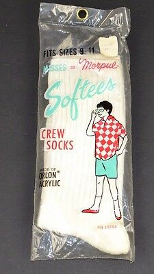 Vtg 1960s Morpul SOFTEES 100% ORLON ACRYLIC Top Athletic Crew Socks White 9-11