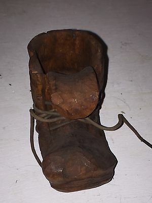 Finely Hand Carved Wooden Boot With Laces