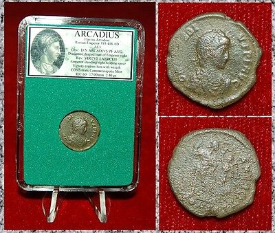 Ancient Roman Empire Coin ARCADIUS Victory Crowning Emperor With Wreath